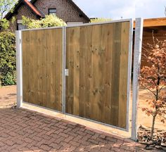 Einfahrtstor 200 x 180cm 2-flügelig Verzinkt + Holz Tor Gartentor Holztor OTTO Backyard Gates, Grades, Fence, Ikea, Garage Doors, New Homes, Outdoor Structures, Outdoor Decor, Modern