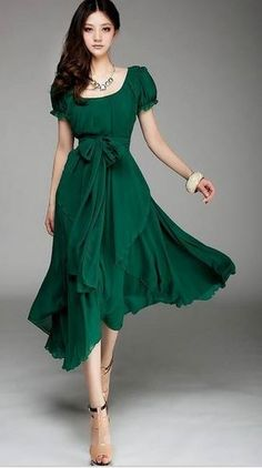 Deep Neck Line Flair Skirt Emerald Green Long. Tie in the back instead though.