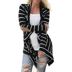 Fortan Le donne casuale a maniche lunghe a righe Cardigan Patchwork Outwear (medium)