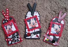 Set of Three Disney Tags - Mickey and Minnie Mouse Disney Cards, Disney Diy, Disney Cruise, Mickey Minnie Mouse, Disney Mickey, Disney Scrapbook Pages, Mickey Birthday, Christmas Gift Tags, Disney Christmas