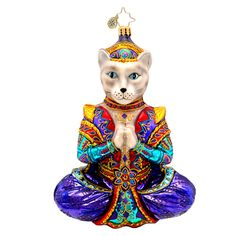 A Christopher Radko namaste ornament will appeal to yoga fans this Christmas. The beautiful Christopher Radko namaste ornament features a cat doing yoga. Old World Christmas Ornaments, Christmas Items, Christmas Cats, Xmas, Namaste, Animal Dress Up, Christopher Radko Ornaments, Disney Cats, Merry Christmas And Happy New Year