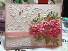 Pink Hydrangea card I made using the Martha Stewart Hydrangea punch