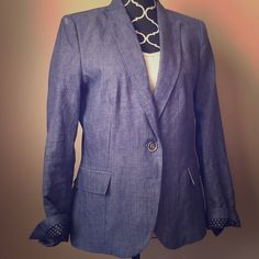 Zara Denim Blazer Roll up the sleeves to reveal the cute polka dot print underneath! This is perfect for the office with black slacks and a top or also great for casual day with white jeans! Note there is a couple little snags that are hardly noticeable. Zara Jackets & Coats Blazers