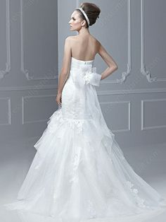 Trumpet/Mermaid Strapless Tulle Satin Floor-length White Appliques Wedding Dresses