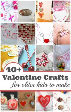 40+ Valentine Crafts for Older Kids to Make - Valentine cards, Valentine gifts, Valentine decorations that school aged kids will have fun making and giving to their friends. | Valentine Crafts for Kids | Kid Made Valentine Crafts |