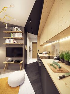 ZARYSY - Pracownia Architektury, Wnętrz i Designu Studio Interior, Interior Design, One Room Apartment, Square Meter, Small Apartments, House Design, Living Room, Table, Furniture