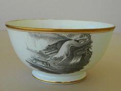 C1810 Antique Spode Bat Printed Porcelain Bowl Coursing Greyhound Dogs