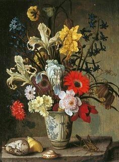 Balthasar van der Ast.Floral Study with Beaker, Grasshopper and Seashells.  Leeds Museums and Galleries    Бальтазар ван дер Аст. Натюрморт с цветами, кузнечиком и ракушками. Городской музей Лидса