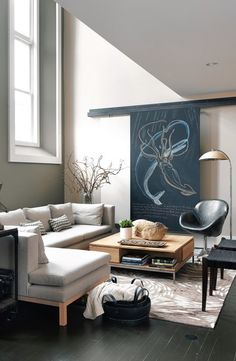 Outsmart it with art -hide the TV behind chalkboard on tracks