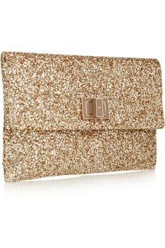 Anya Hindmarch|Valorie glitter-finished leather clutch|NET-A-PORTER.COM