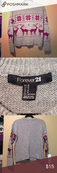 Raindeer Forever 21 sweater Comfy rain deer sweater from Forever 21 Forever 21 Sweaters Crew & Scoop Necks