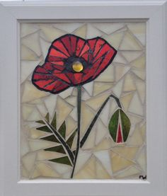 Poppy Stained Glass Mosaic Panel - Red Poppies - Home Decor Window Hanging by NiagaraGlassMosaics on Etsy
