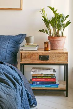 Casper Industrial Wooden Nightstand R: side table/ night stand