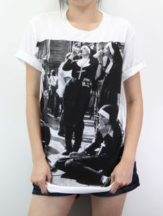 Nun Smoking Shirt  Smoking Shirt TShirt T-Shirt T Shirt Tee Unisex - silk screen handmade – Size M L