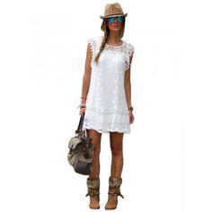 Vestido Casual Generico con Encaje para Mujer-Blanco