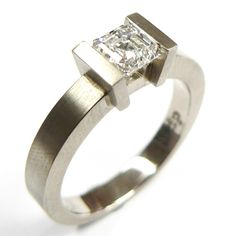 David Parker, Asscher Wall Ring, 18ct white gold and white diamond