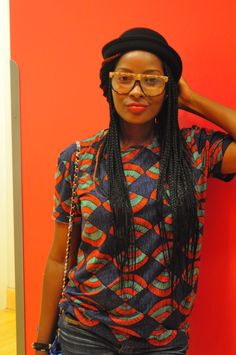 afrochicgist:  Agatha of Irony of Ashi looking ultra cool in the summer hit tee from Zara Man. Follow AfroChicGist here!