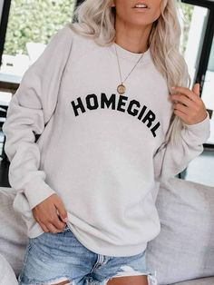 Where my homegirls at? This super soft sweatshirt fits true to size. It's perfect for breezy summer nights and will pair great with leggings, jeans, and denim shorts! Perfect trendy sweatshirt that will keep you cozy and stylish! Spring Dresses Casual, Casual Dress Outfits, Short Outfits, Cute Outfits, Fashion Outfits, Womens Fashion, Sporty Fashion, Sporty Chic, Fall Outfits