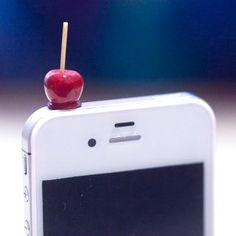Kawaii DIPPED in CARAMEL APPLES Iphone Earphone Plug/Dust Plug - Cellphone Headphone Handmade Decorations