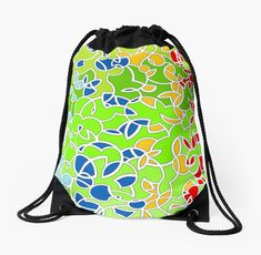 High Quality Drawstring Bag - Width 15.5″, height 19.5″ ::: Graphic art by Luberlu Design ::: For shoppers, students, cyclists, weekend hikers, beach bound and more ::: Strong enough to carry computers, books, groceries, bike helmet, clothes and whatnot