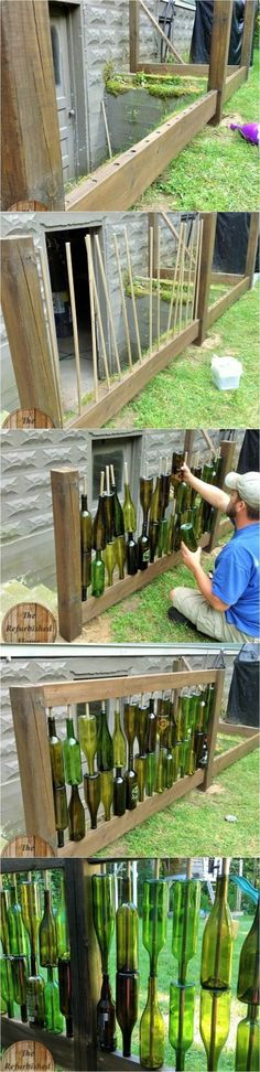 This would be cool here because the wind would whistle through the bottles and make some pretty kick-ass music. art ideas reuse Make Your Repurposed Wine Bottle Fence - 1001 Gardens Wine Bottle Fence, Bottle Garden, Wine Bottle Crafts, Bottle Art, Wine Bottles, Empty Bottles, Alcohol Bottles, Glass Garden, Bottle Trees