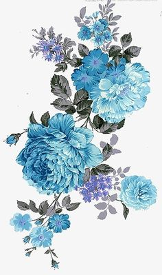 36 Ideas Flowers Peonies Blue For 2019 Botanical Flowers, Leaf Flowers, Botanical Art, Diy Flowers, Vintage Flowers, Blue Flowers, Painted Flowers, Blue Flower Png, Exotic Flowers
