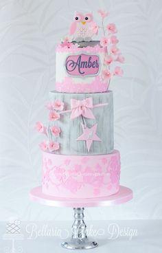 Pretty Pink Owl Themed Birthday Cake