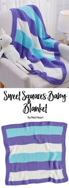 Sweet Squares Baby Blanket free crochet pattern in Soft Baby Steps yarn.