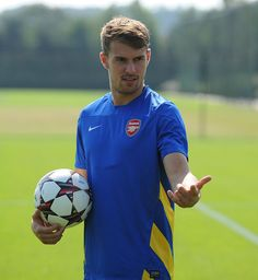 Aaron Ramsey in training with Arsenal FC.