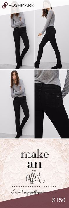 "RAG & BONE High Rise Skinny Jeans Black Coal Rock downtown style in rag & bone/JEAN skinnies, distressed for understated cool. Fits true to size, order your normal size Zip fly with button closure, silver-tone hardware, contrast stitching Five-pocket silhouette, front distressing Fraying at knee 8"" rise, 11"" leg opening, 30"" inseam WORN JUST ONCE! PRACTICALLY NEW! rag & bone Jeans Skinny"