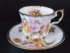Elizabethan-Staffordshire-Tudor-Tea-Cup-amp-Saucer-Pink-Yellow-Roses-Gold-England