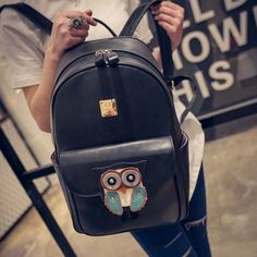 Cute Owl Cartoon PU Schoolbag Rucksack  Simple Solid Animal Backpack