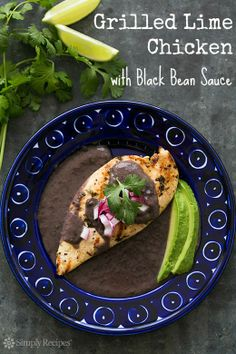 Grilled Lime Chicken with Black Bean Sauce on SimplyRecipes.com Chicken cutlets in lime marinade, grilled and served with black bean sauce. #glutenfree