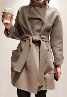 IIt's Boot Season: European Style Sash Pure Color Stand Collar Worsted Coat