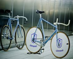 Vintage Campagnolo and Cinelli track bikes