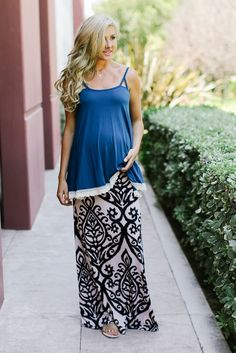 Black-Cream-Print-Maxi-Maternity-Skirt