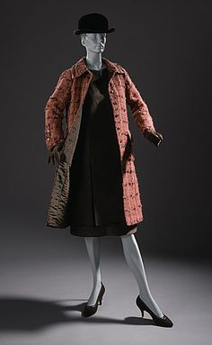 Dress ensemble, novelty weave  salmon coat, brown silk faille skirt and blouse, Coco Chanel, circa early 1960s