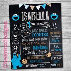 Chalkboard Cookie Monster - Custom, Sesame Street Chalkboard decor -Digital File- Milestone Birthday Poster