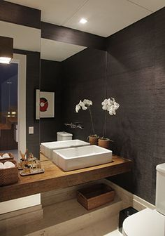 cool modern wood counter and square sink Diy Bathroom, Bathroom Toilets, Bathroom Interior, Modern Bathroom, Master Bathroom, Small Bathroom Inspiration, Bad Inspiration, Dark Bathrooms, Beautiful Bathrooms