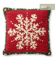 Wool Hooked Throw Pillow, Alpine Snowflake