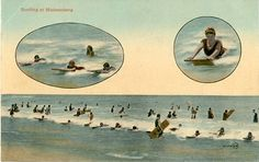 Surfing in Muizenberg - Cape Town - South Africa - 1925 postcard. Nordic Walking, Cape Town South Africa, Vintage Surf, Back In The Day, Vintage Photography, Old Pictures, Tourism, Surfing, History