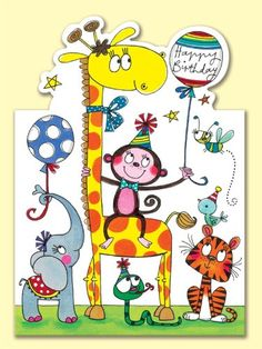 Rachel Ellen Jungle Animals Birthday Card: Amazon.co.uk: Office Products
