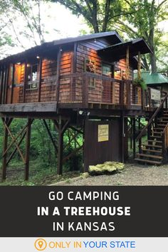 Elevate camping to glamping at this unique treehouse retreat in Kansas. It's perfect for a relaxing summer or fall vacation. This peaceful place in nature is great for getting away from it all, family travel, or a romantic getaway. | Local Staycation | Rustic | Charming | Cabins and Cottages | Near Kansas City and Topeka | Things To Do Treehouse Vacations, Treehouse Cabins, Fall Vacations, Dream Vacations, Romantic Cabin Getaway, Getaway Cabins, Relaxing Things To Do, Romantic Things To Do, Tree Camping