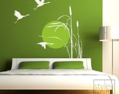 Cranes Wall Decal, Cranes Wall Sticker, Bird Wall Decal, Flying Birds Wall Sticker, Reed Grass and Flying Cranes at Sunset Vinyl Wall Decal