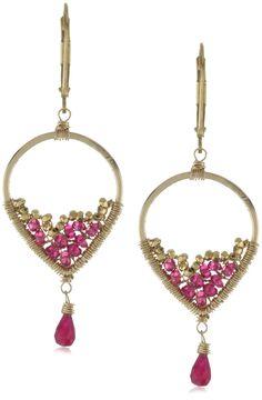 Dana Kellin Spinel, Ruby and 14k Gold Fill Beaded Drop Earrings