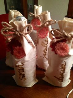Bridal party gifts - personalized wine bags.