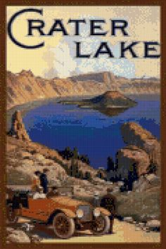Vintage Oregon Crater Lake Cross Stitch travel poster pattern PDF - Instant Download! by PenumbraCharts on Etsy