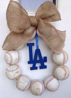Los Angeles Dodgers Burlap Baseball Wreath by NTgoodthings on Etsy, $48.00 @Julie Babcock