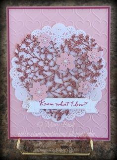Stampin' in the Sand: Card: Simply Stamp It Challenge Stampin Up bloomin heart die . know what I love sale a bration. Valentines day card
