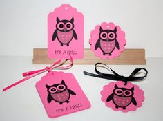 Pink Owl Gift Tags  Printed It's A Girl  12 Tags  by Booksonblocks, $3.00